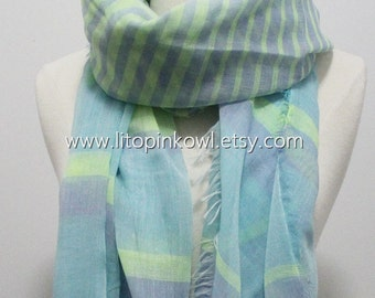 Aqua Blue and Neon Yellow Colorblock and Striped Infinity Scarf
