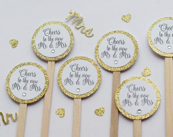 Wedding swizzle sticks, Wedding drink stirrers, Bridal shower drink stirrers, Engagement party drink stirrers