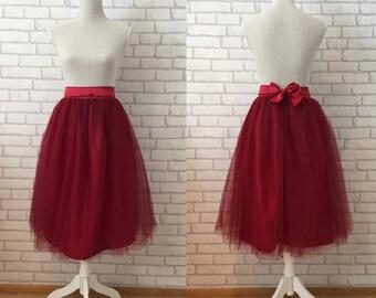 Red tulle skirt, Women tulle skirt, adult tulle skirt, tulle skirt, white tulle skirt, tea length tulle skirt, women tutu, black tulle skirt
