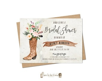 Country Cowgirl Boot bridal Shower Invitation Southwestern Wedding Printable Digital File or Prints with Free Shipping Floral Boots Flower