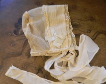 Vintage Very Delicate Baby Bonnet From Before 1950.