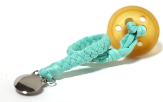 NEWBORN Pacifier Holder / MINT Braided Pacifier Clip / soothie / binky clip / pacifier holder