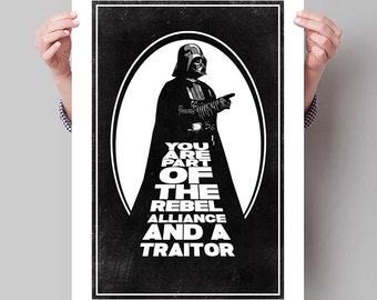 "STAR WARS Inspired Darth Vader Minimalist Movie Poster Print - 13""x19"" (33x48 cm)"