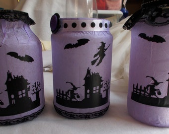 Halloween Luminary Jars