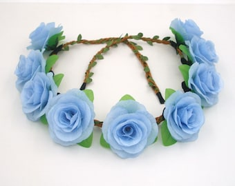 Light Blue Flower Crown,Blue Rose Headband,Blue Rose Crown,Blue Flower Headband,Girls,Women,Adult,Wedding Bridal Bridesmaids Floral Crown