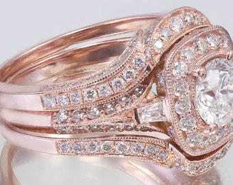 GIA H-SI1 14k Rose Gold Round Cut Diamond Engagement Ring And Bands Deco 2.50ctw
