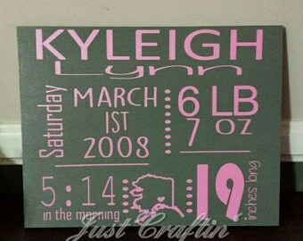Wooden birth stats sign