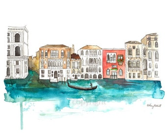 Through the Canals of Venice - Watercolor Painting Print, Italy Skyline