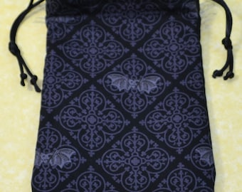 Gothic Bats Handmade Tarot or Rune Bag for Goth Pagan, Wiccan, Witch #1