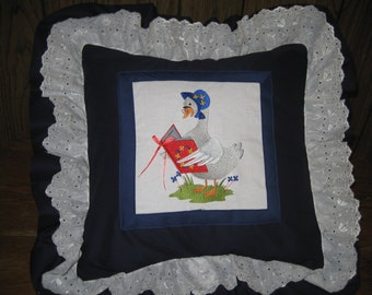 "Mother Goose Nursery Rhyme Pillow.  16"" X 16""  With Double Ruffle.  Adorable and Unusual. Fairy Tale Pillow."