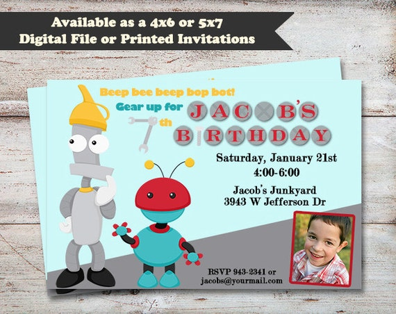 Robots birthday party invitations robot party boys birthday il570xn filmwisefo Images