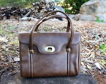 1960's Faux Brown Chocolate/Milk Mocha Leather Handbag