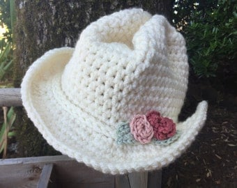 Crocheted cowgirl hat, cowgirl, photo prop, girl's hat, cowboy accessory, girl's gift