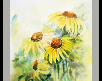 Four Cone Flowers Watercolors Original Art  Wall Art Wall Decor Impressionistic watercolors Floral painting