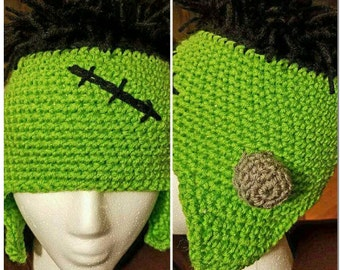 Frankenstein Hat, Halloween, Winter,  Green,  Black,  Winter, Kids,  Teens