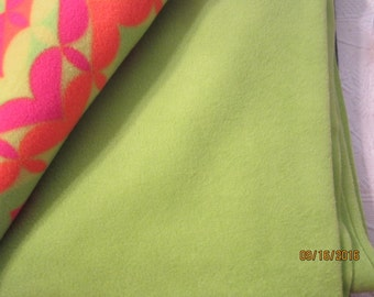 """Solid green lime green polyester fleece fabric, 76x 60"""""""