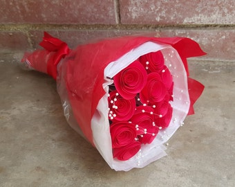 One Dozen Red Spiral Origami Roses