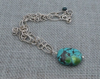 Large Turquoise + Textured Sterling Silver Chain Necklace