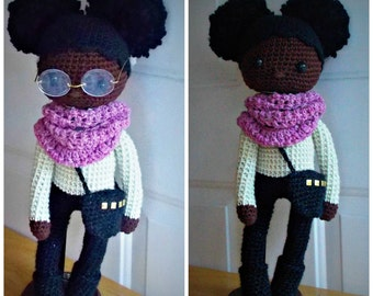 Crochet African American Doll, Crochet Doll Pattern, Doll with Afro Puffs