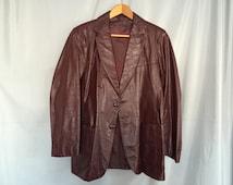 Brown Leather Coat Jacket Maroon Vintage Men's Size 44 R