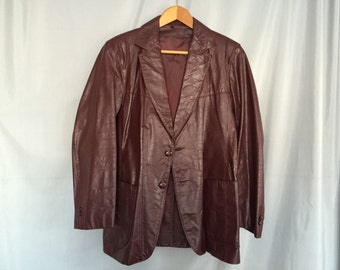 Brown Leather Coat Jacket Maroon Vintage Men's Size 44 R