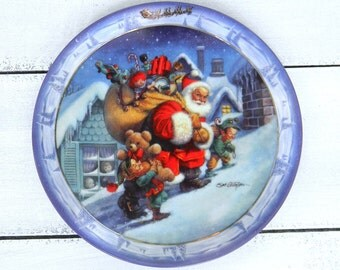 Collectible Santa Plate, Bradford Exchange Collectible Christmas Plate, Santa's On His Way, Santa's First Stop Collectors Plate
