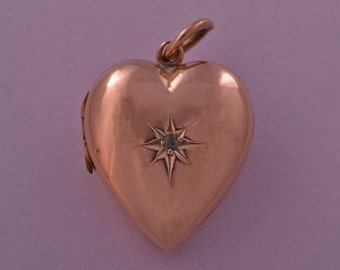 9ct Rose Gold Edwardian Heart Locket With A Diamond