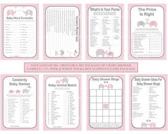 Pink Polka Dot Baby Game, Printable Elephant Baby Game, Pink Gray Baby Shower Game, Dot Baby Game, DIY Baby Games, SALE- Printables 4 Less