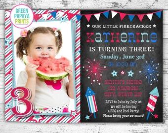 July 4th Birthday Invitation - Printable Digital File - Fourth of July - Fireworks - Stars - Patriotic - Our Little Firework