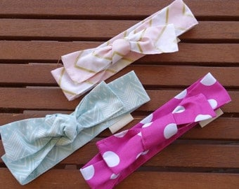 Top Knot Headbands: Blush, Mint and bright pink - Set of 3
