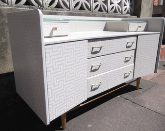 SOLD Lebus mid century sideboard restyled in grey & gold
