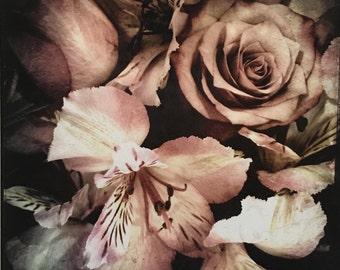 Fine Art Photography, Art Print, 8.5 x 11, still life photograph, still life, flowers, cottage chic art, pink, Peruvian lilies