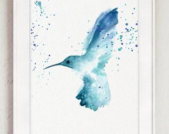 Hummingbird Art Print, Garden Bird Giclee Fine Art, Wildlife Home Decor, Blue Nursery Poster, Baby Boy Kids Room Decor