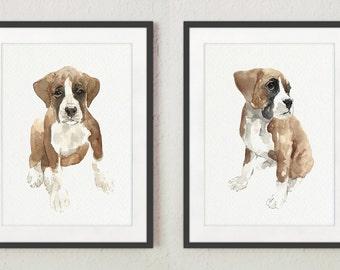 Boxer Art Print, Set 2 Watercolor Paintings, Dog Kids Room Decor, Brown Wall Painting, Dog Breeds Illustration, Nursery Kids Gift Idea