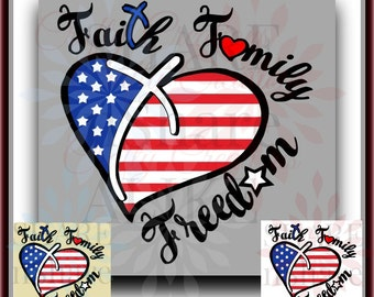 July 4th SVG Flag Heart Faith Freedom Family Land Free Brave US America Outta State Military Soldier Life Dad Cross Country 17 Cricut Decal.