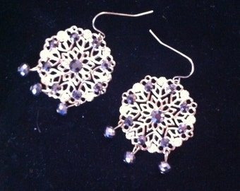 Gold Filigree Earrings with Black Dangling Beads, Ready to Ship, High Fashion Jewelry, Fancy Earrings