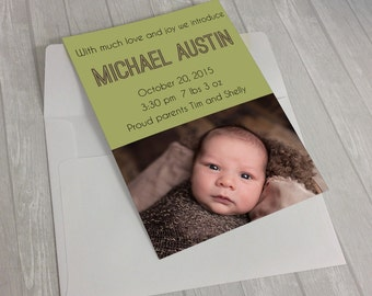 Baby Boy Birth Announcement Card-Michael
