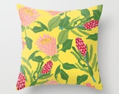 "King Protea - illustrated Cushion Cover / Throw Pillow (16"" x 16"")"