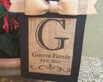 Custom, personalized,monogrammed burlap garden flag