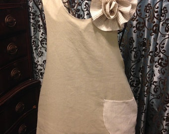 Linen Cross Back Apron Pinafore Top Tunic Artisan Japanese Style French Country