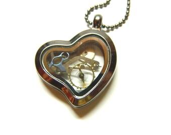 "Transparent elegant steampunk locket, graphite heart necklace ""Mini Time"" cute, unique, perfect surprise gift for girlfriend, mother, sister"