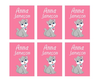 80ct Iron On Clothing Name Labels, Kids Clothing Labels, Personalize Uniform Name Labels - Baby Clothing Cat