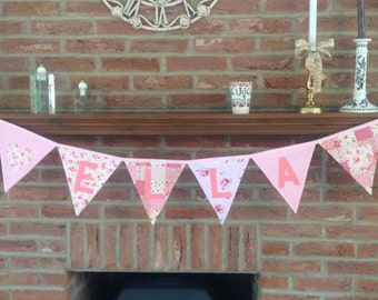 Personalised Bunting in Pink Patterened Fabrics