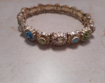 Vintage Aurora Borealis Stretch Bracelet with Colorful Rhinestones 6 inch