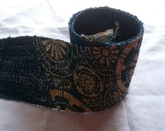 Japanese indigo KATAZOME dyed blue table center hemp fabric 006