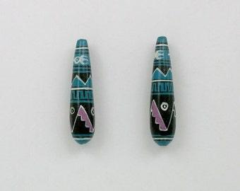 Handmade Ceramic Peruvian 35mm Teardrop Shaped Beads,- 24