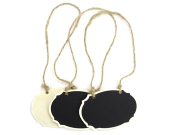 Set of 3 Chalkboard Oval Wooden Tags. Great for gifts, favors, rustic and primitive decorations. (CBT308)