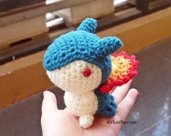 FREE SHIPPING Chibi Typhlosion, Shiny Typhlosion Made-to-order Crochet Amigurumi, Pokemon plush toy