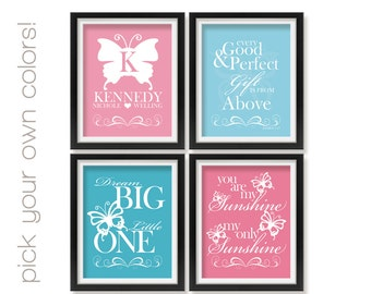 Butterfly Nursery Wall Decor, Monogram, Dream Big, You Are My Sunshine, Every Good and Perfect Gift, Modern Girl Room Butterflies Bttr016