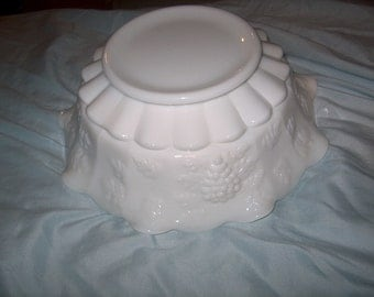 Vintage Westmoreland Glass Milk Glass Bowl, Ruffled,  Panelled Grape, WAS 50.00 - 25% = 37.50